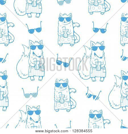 Summer seamless pattern with cute cartoon cats and foxes  in sunglasses. Cats and foxes  drinking soda. Children's illustration. Contour image. Vector image.