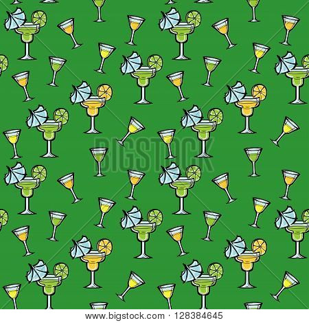 A seamless vector pattern with stylized coctails.