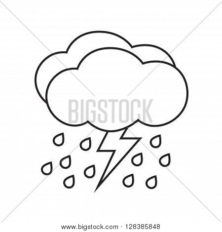 Line icon rain with storm. Weather icon isolated on white background.