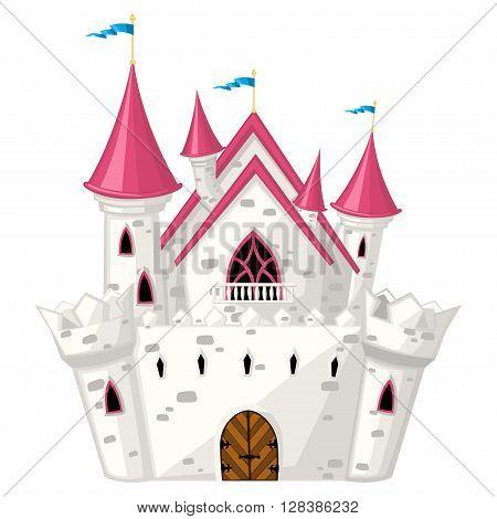 Vector cartoon fairytale castle with magenta roof