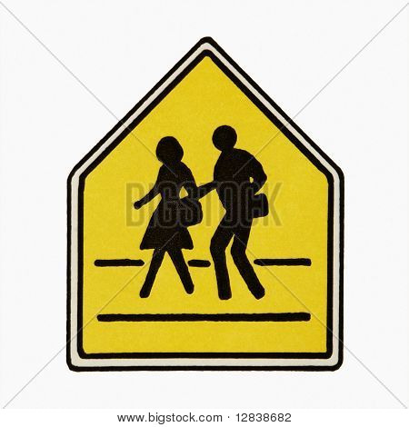 Pedestrian crossing sign against white background.