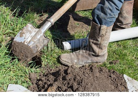 Work in the garden to dig a hole Signor