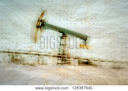 Work of oil pump jack on a oil field. Texture grunge paper. Blurred motion. Numbers figures. Concept oil and gas crisis.