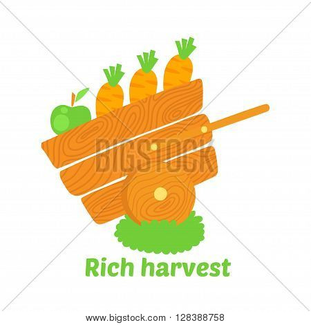 Rich harvest vector illustration. Profession Farmer illustration.