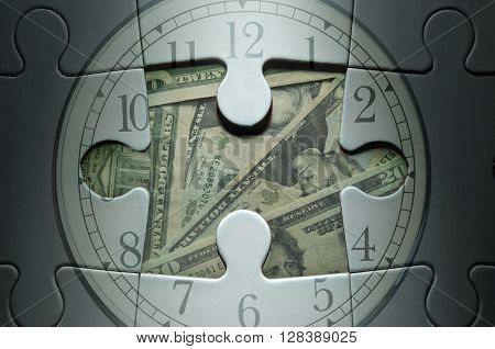 Time is money jigsaw puzzle clock with dollar banknotes
