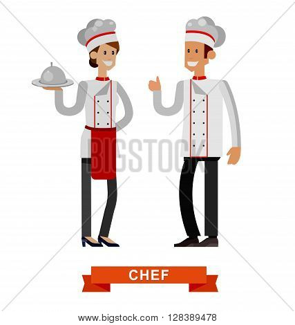 Vector detailed characters woman and man professional chef, Cook baker, flat design vector illustration isolated on white background.