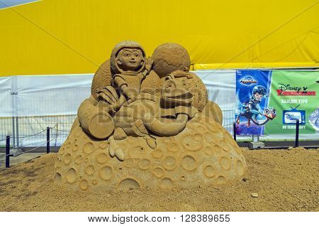 MOSCOW RUSSIA - May 1 2016: The exhibition contest of sand sculptures in Kolomenskoye Park. Composition on cartoon