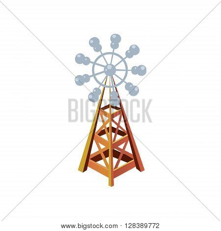 Wind Mill  Simplified Cute Illustration In Childish Colorful Flat Vector Design Isolated On White Background