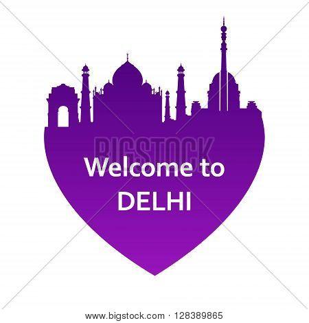 Vector illustration of Delhi skyline in heart shape. Welcome to Delhi