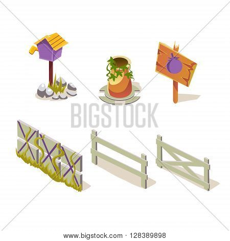 Farm Objects Simplified Cute Illustrations Set In Childish Colorful Flat Vector Design Isolated On White Background