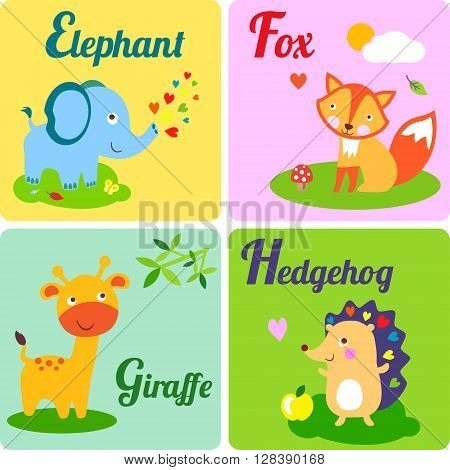 Cute zoo alphabet in vector. E f g h letters. Funny animals for ABC book. Elephant fox giraffe and hedgehog
