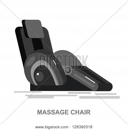 Vector detailed massage chair, massager for relax, cool flat  illustration isolated on white background.