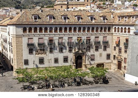 Jaen - Spain, may 2016, 2: Town Hall of the city of Jaen, also known as Municipal Palace, placed opposite to the cathedral, of colonial aspect it was realized by the architect Antonio Maria Sanchez in the year 1949, take in Jaen, Spain