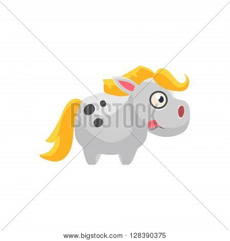 White Horse Simplified Cute Illustration In Childish Colorful Flat Vector Design Isolated On White Background