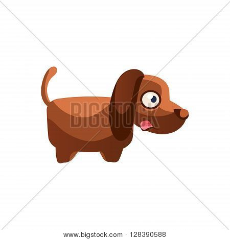 Dog Simplified Cute Illustration In Childish Colorful Flat Vector Design Isolated On White Background