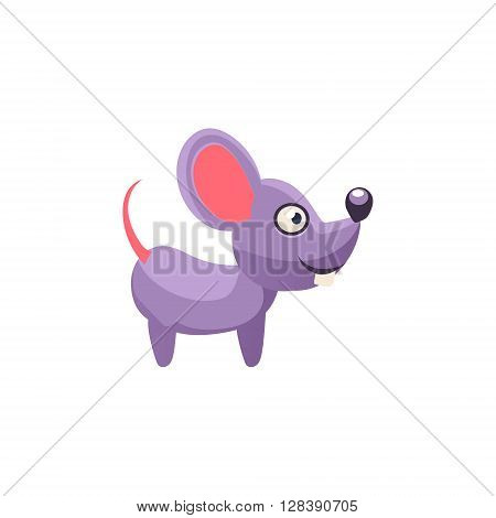 Mouse Simplified Cute Illustration In Childish Colorful Flat Vector Design Isolated On White Background