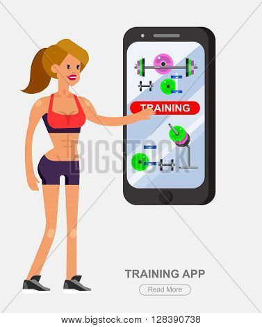 Vector detailed character women bodybuilder with big smartphone. Traning app with fitness equipment, cool flat  illustration. Web banner template