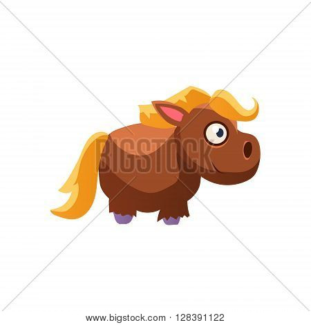 Horse Simplified Cute Illustration In Childish Colorful Flat Vector Design Isolated On White Background