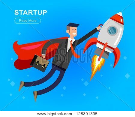 Vector detailed character businessman with startup. Flat style website banner startup concept web infographics. Rocket fly with business hero