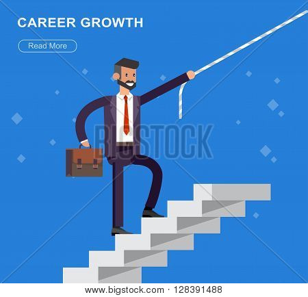 Vector detailed character businessman walking on stairs. Career growth job change. business headhunting concept web vector illustration.