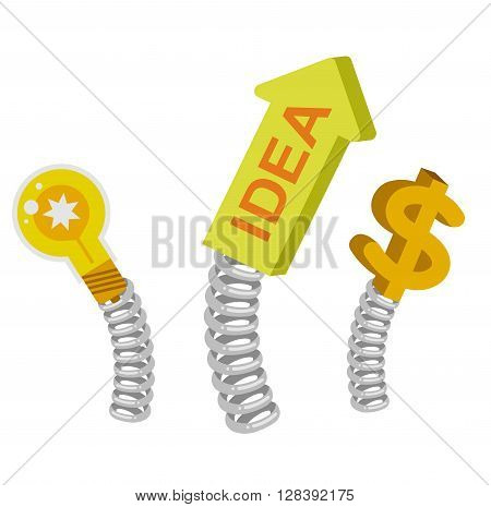 Vector detailed business illustration concept Creative idea with light lamp, arrow and dollar sign on a spring for website and promotion banners isolated on white background.