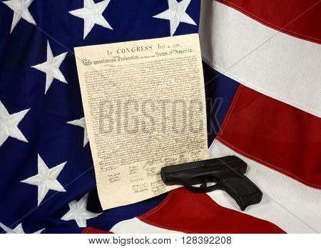 Declaration of Independence with Hand Gun, Horizontal