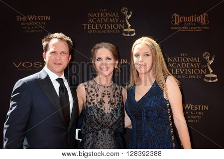 LOS ANGELES - MAY 1:  Scott Martin, Lauralee Bell, Samantha Martin at the 43rd Daytime Emmy Awards at the Westin Bonaventure Hotel  on May 1, 2016 in Los Angeles, CA