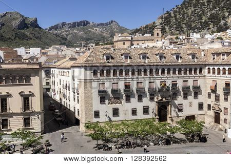 Jaen - Spain, may 2 2016: The episcopal head office of Jaen, The Episcopal Palace is constructed on a building of the XVth century reformed in the year 1980, take in Jaen, Spain