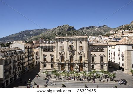 Jaen - Spain, may 2016, 2: Town Hall of the city of Jaen, also known as Municipal Palace, placed opposite to the cathedral, of colonial aspect it was realized by the architect Antonio Maria Sánchez in the year 1949, take in Jaen, Spain