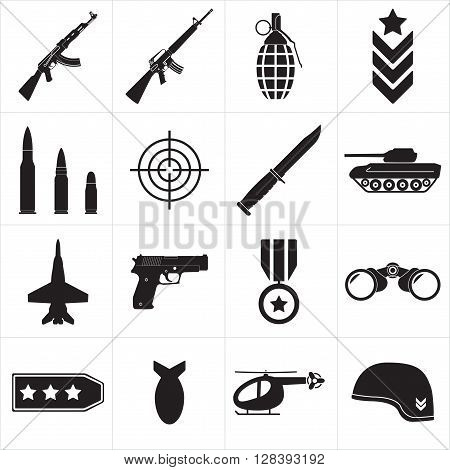 Weapons and military icon set. Sub machine guns, pistol and bullets black icons isolated on white background. Symbolics and badge for army. Vector illustration.