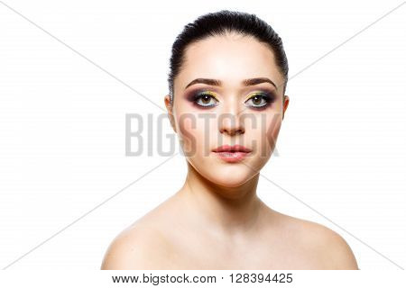 Face of beautiful young woman with beautiful eyes. Beuty concept