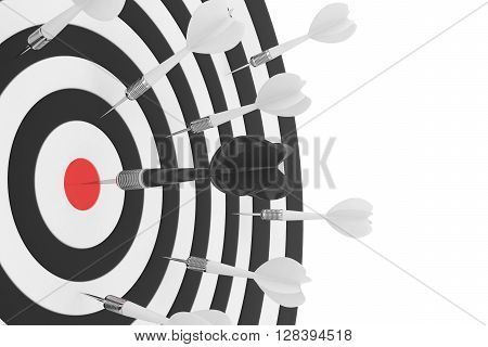 Darts board with red center on white background. 3D rendering.