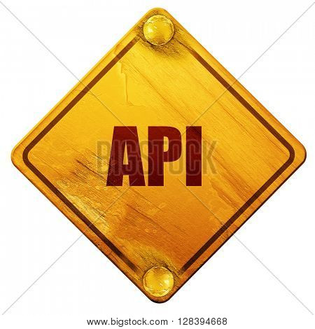 api, 3D rendering, isolated grunge yellow road sign