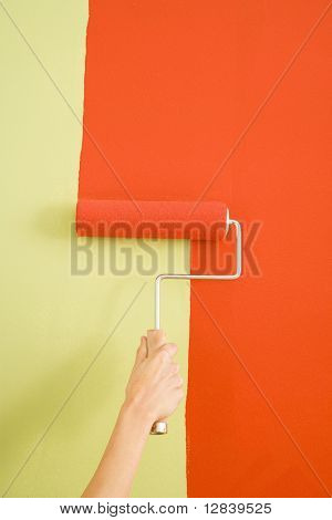 Caucasian female hand painting with red onto a green wall.