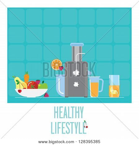 Compact juicer for the kitchen. Bowl with fruits and vegetables to obtain juice. All the juice for a healthy Breakfast.