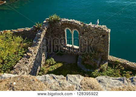 beautiful door castle ruin on portovenere coast