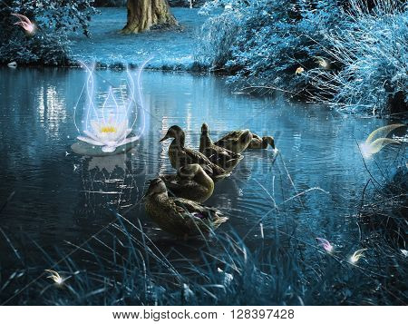 Ducks in a magical and dark forest with fabulous creatures