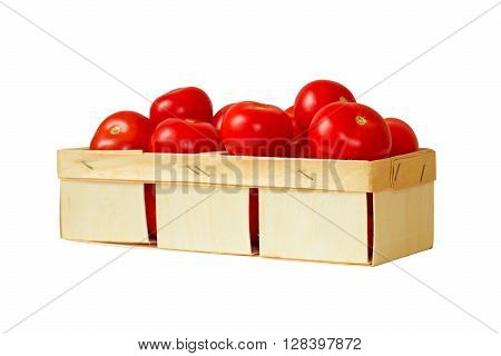 Basket of ripe tomatoes isolated on a white background.