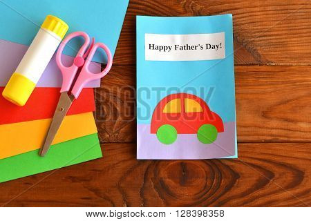 Greeting card father's day. Happy father's day. Paper sheets, scissors, glue. How to make a card father's day