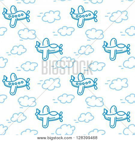 airplane seamless pattern vector. Isolated white background in cartoon style. Can be used for nursery wallpapers or wrapping paper
