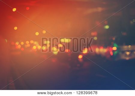 Night City Defocused Road Stopper Car Background