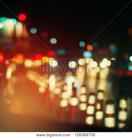 Headlight Cars Defocused Stopper Traffic Abstract
