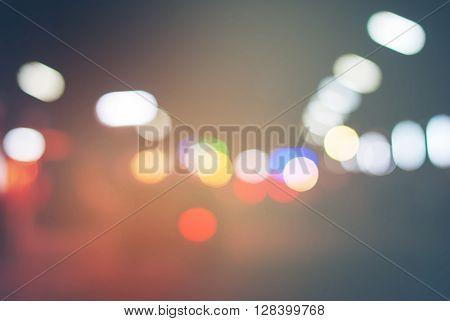 Multy Color Lights On Road Defocused Night Light