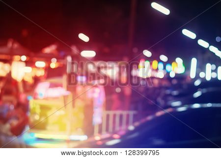 Multy Color Lights Defocused City Life in Bangkok Vivid Toned Urban Background Abstract Defocused Image