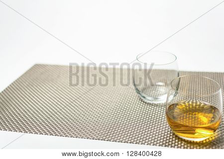 Glasses Of Whiskey With On White Background
