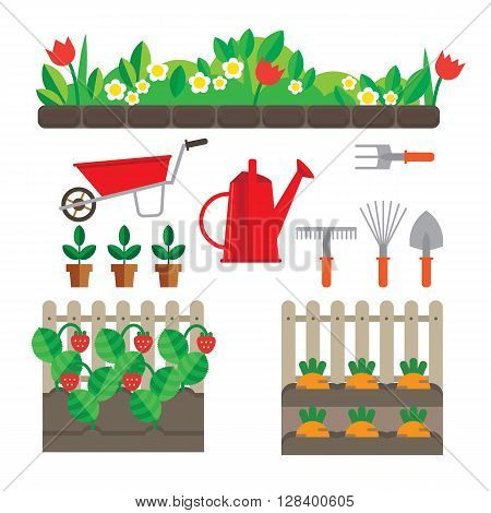 Set of stylized plots oyewumi and berries. Also have garden tools.