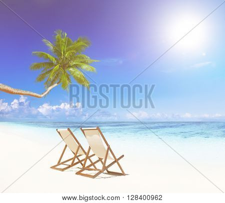 Paradise Beach for Relaxation with Palm Trees and Beach Chairs