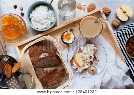 Healthy Breakfast Tray Snack Milk Coffee Egg Bread