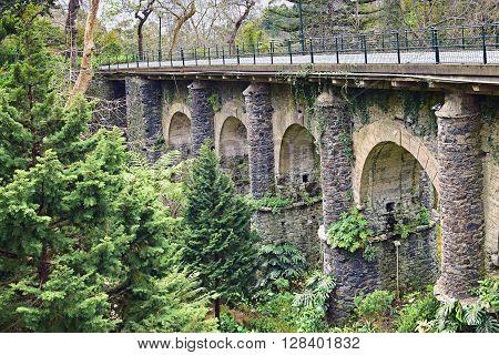 Old railway bridge in Monte Madeira Portugal