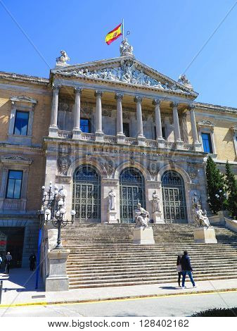 Steps of the National Library of Madrid Spain.
